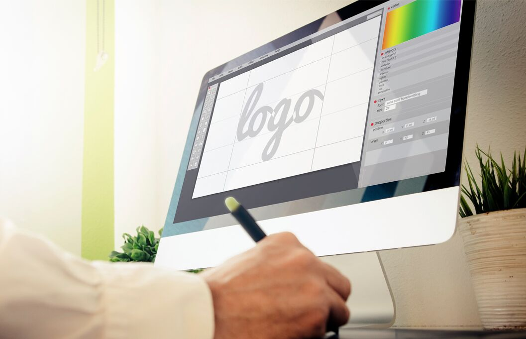 graphic designer using display tablet